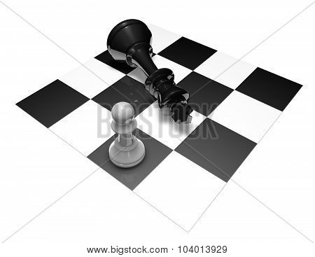Chess Fight Black And White 3D Illustration.
