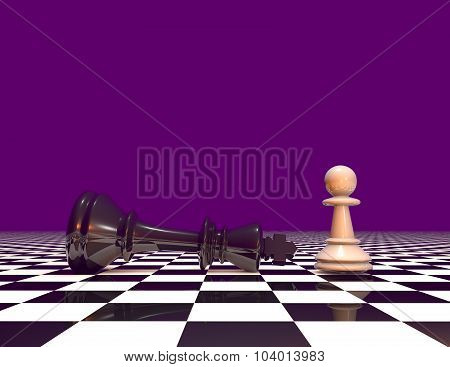 Courage And Powers Abstract Concept With Chess Pawn And Chess King. Purple Background With Copy Spac