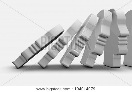 Domino Effect Abstract Illustration.