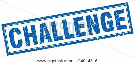Challenge Blue Square Grunge Stamp On White