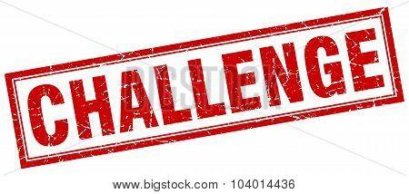 Challenge Red Square Grunge Stamp On White