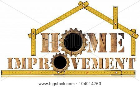 Home Improvement Symbol With Wooden Gears