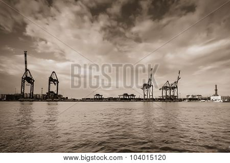 Silhouettes Of Cranes In Harbor, Sepia Color.