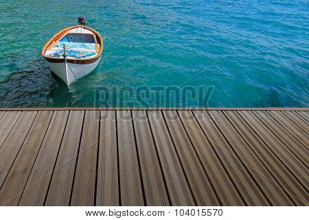 Summer Time, Vacation Concept With Docked Boat