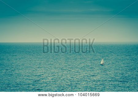 Lonely Boat On Empty Sea.