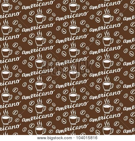 Americano. Seamless pattern with hand-drawn calligraphy with coffee drink naming, cup and beans. Doo