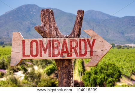 Lombardy wooden sign with winery background