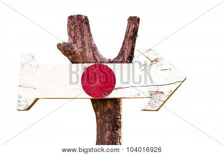 Japan Flag wooden sign isolated on white background