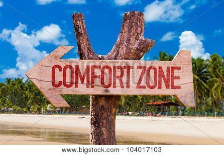 Comfort Zone arrow with beach background