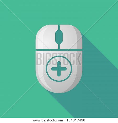 Wireless Long Shadow Mouse Icon With A Sum Sign