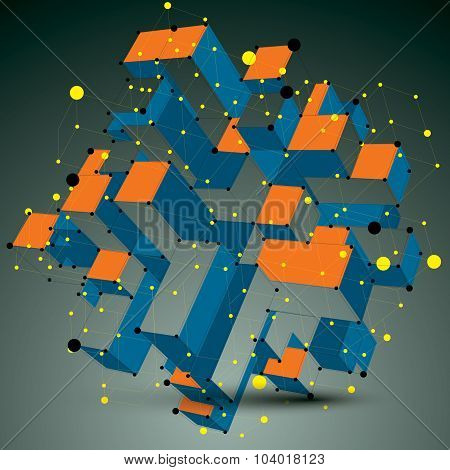 Contemporary Vector Technology Colorful Stylish Futuristic Construction, Abstract 3D Figure With Con