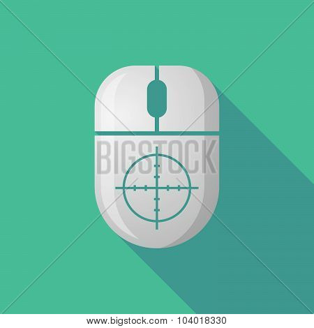 Wireless Long Shadow Mouse Icon With A Crosshair