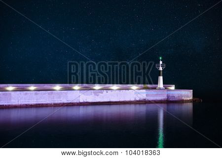 Lighthouse at starry night