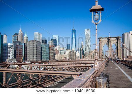 NEW YORK CITY, USA - SEPTEMBER, 2014: Skyline New York City seen from Brookyln Bridge