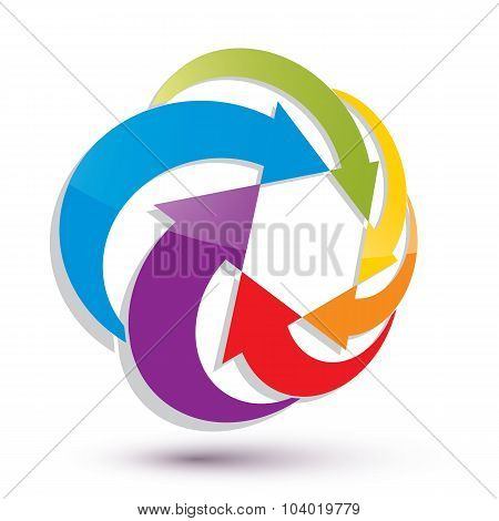 Arrows Abstract Loop Symbol, Vector Conceptual Pictogram Template, Vector 3D Icon.