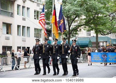 NEW YORK CITY, USA - SEPTEMBER, 2014: German American Steuben Parade on Fifth Avenue in New York City