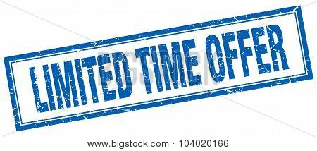 Limited Time Offer Blue Square Grunge Stamp On White