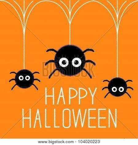 Three Cute Hanging Fluffy Spiders. Happy Halloween Card. Flat Design