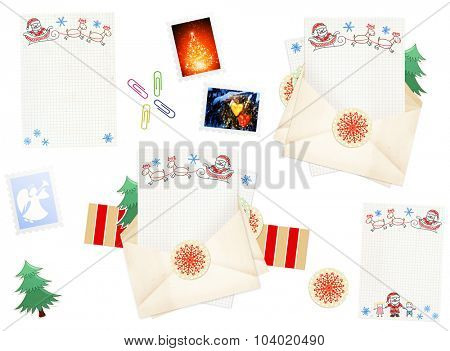 Letter to Santa Claus. Collection of elements for Christmas design