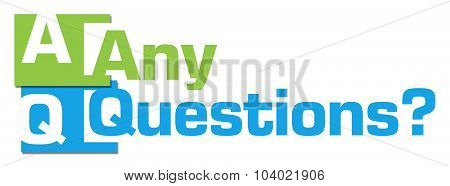 Any Questions Abstract Blue Green Stripes