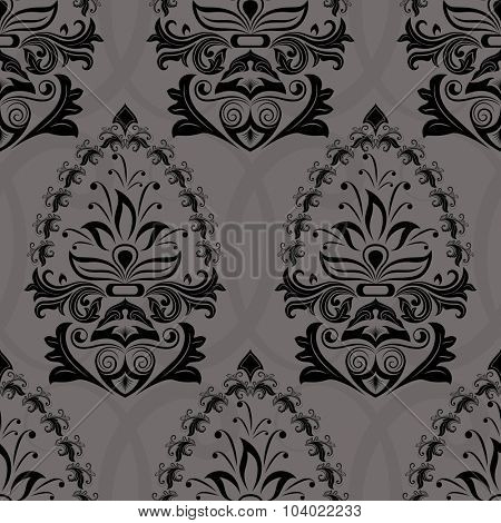 Seamless dark retro wallpaper pattern.