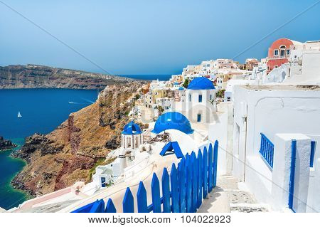 Panoramic View Of Oia Town, Santorini Island, Greece