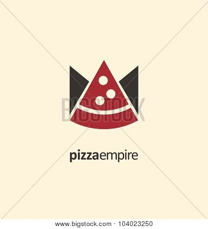 Creative symbol template for pizzeria or fast food restaurant