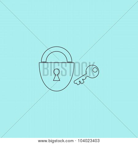 Padlock And Key Icon. Vector Eps 10