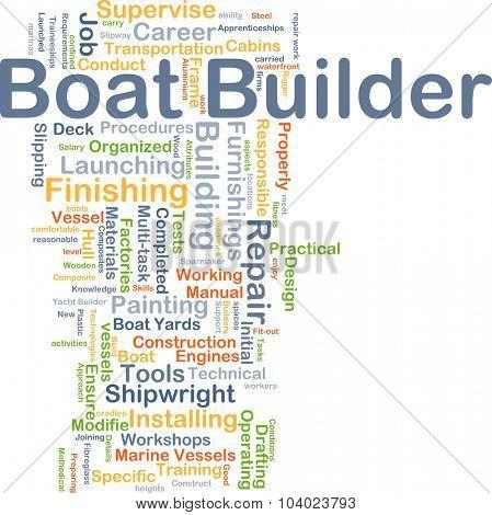 Background concept wordcloud illustration of boat builder
