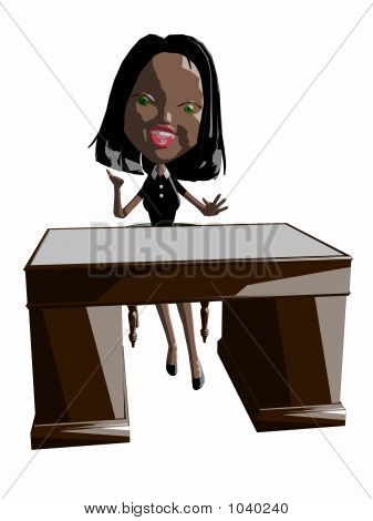 Lady At Desk