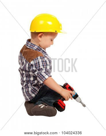 cute child act like handyman isolated on white