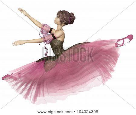 Pink Flower Ballerina Leaping