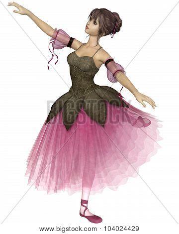 Pink Flower Ballerina in Arabesque Pose