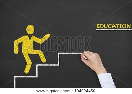 Education Step Concept Drawing on Blackboard