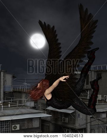 Female Urban Guardian Angel, Flying