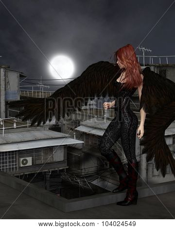 Female Urban Guardian Angel, Standing