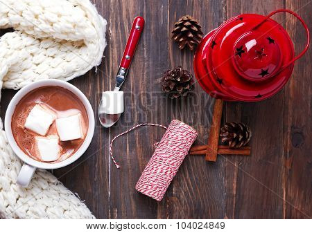 Hot Cocoa With Marshmallows And Christmas Decor