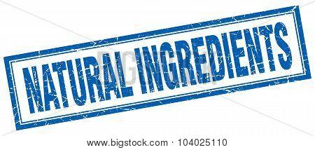 Natural Ingredients Blue Square Grunge Stamp On White