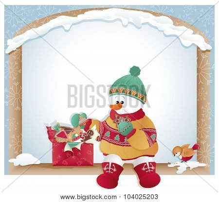 Christmas Card With Snowman And Cookies