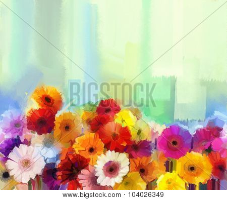 Oil Painting - Colorful Bouquet Of Daisy And Gerbera Flowers.