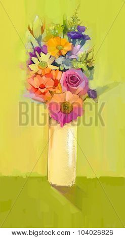Oil Painting A Bouquet Of Rose,daisy And Gerbera Flowers
