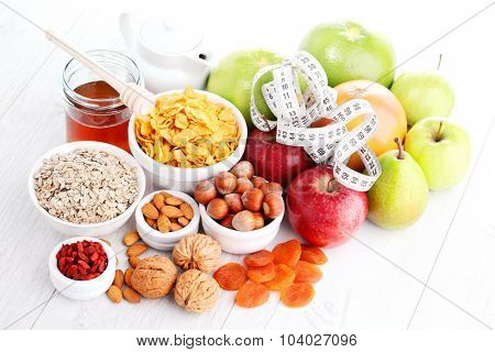 cereals and fruit - diet and breakfast
