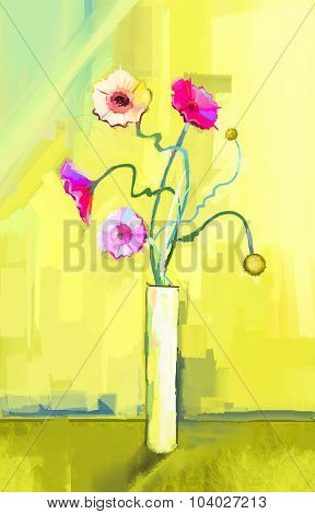 Abstract Oil Painting Of Spring Flower. Still Life Of Yellow, Pink And Red Gerbera
