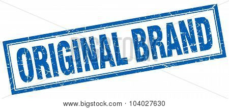 Original Brand Blue Square Grunge Stamp On White