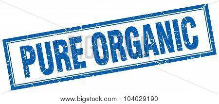 Pure Organic Blue Square Grunge Stamp On White