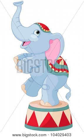 Illustration of cute circus elephant on pedestal