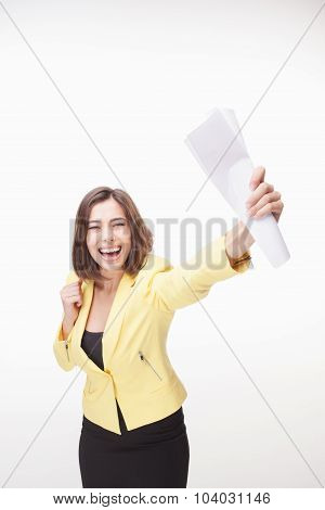 successful business woman on white background