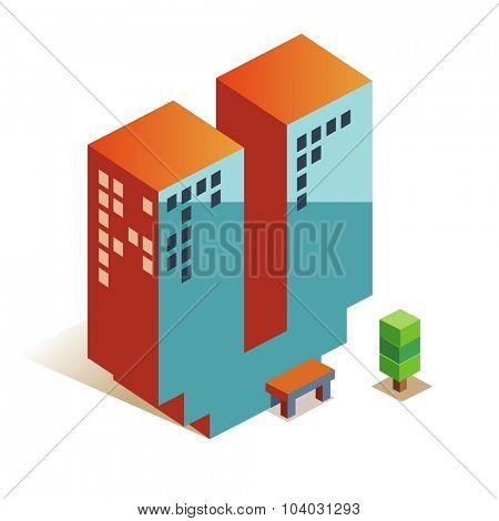Victor latin alphabet letter in skyscraper shape