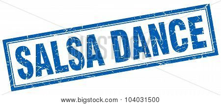 Salsa Dance Blue Square Grunge Stamp On White