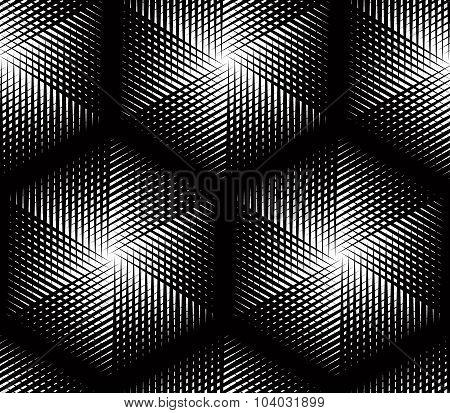 Endless Monochrome Symmetric Pattern, Graphic Design. Geometric Intertwine Optical Vector Compositio